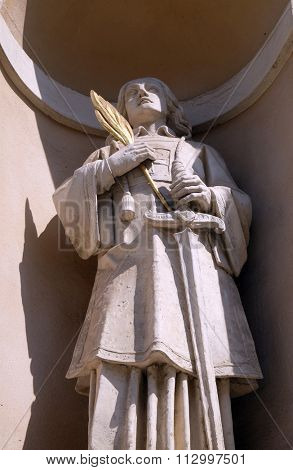 LJUBLJANA, SLOVENIA - JUNE 30: Saint Fortunatus on the facade of St Nicholas Cathedral in the capital city of Ljubljana, Slovenia on June 30, 2015