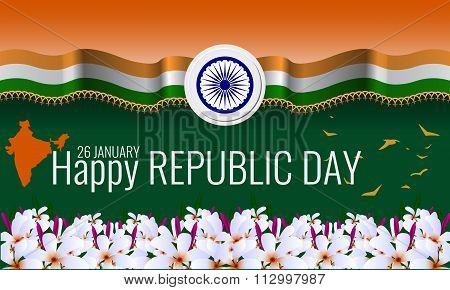 Happy Indian Republic Day Background greeting card. Vector illustration