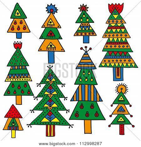 Set of colorful Christmas trees