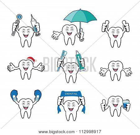 Cartoon Smiling tooth set