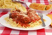 stock photo of meatballs  - A plate of spaghetti and meat balls with garlic toast - JPG