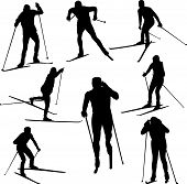 pic of nordic skiing  - set of nordic skiing silhouettes  - JPG