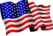 pic of american flags  - the american flag flapping in the wind - JPG