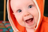 foto of happy baby boy  - smile baby boy with tooth  - JPG