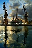picture of oil rig  - oil rig being repaired in dockyards malta europe - JPG