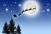 picture of santa sleigh  - Santa is Sleigh in Night sky with moon - JPG