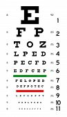 foto of snellen chart  - illustarion of an ophtalmology snellen eye chart - JPG