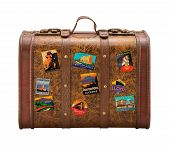 stock photo of old suitcase  - Old Suitcase Travel Stickers isolated with a clipping path - JPG