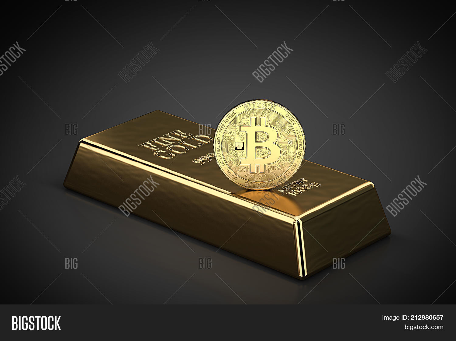 Golden bitcoin standing on gold image photo bigstock golden bitcoin standing on the gold ingot bullion bar as symbol of domination on biocorpaavc Images