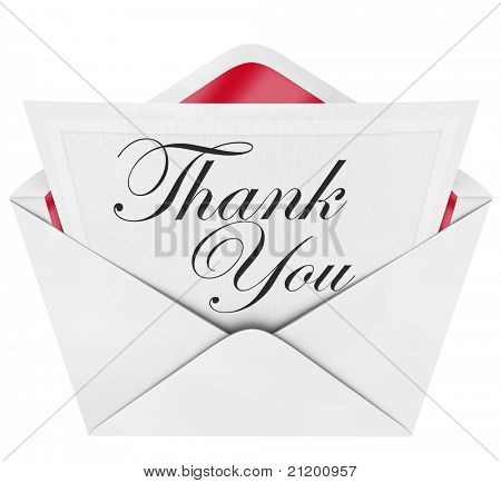 An opening envelope revealing a formal handwritten note reading Thank You representing thankfulness in an expression of good manners and gratitude