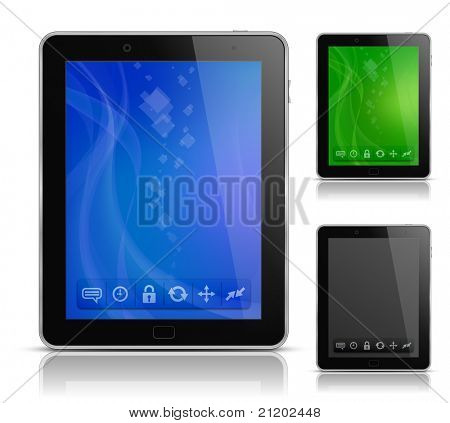 Tablet PC with abstract background and icons. User interface template. EPS 10. Vector illustration