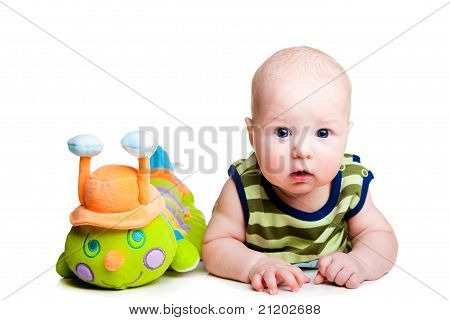 Cute baby with toy caterpillar on isolated white