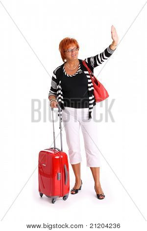 A picture of an attractive woman in her fifties waving hand over white background