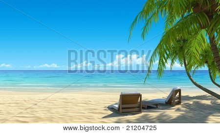 Two stylish beach chairs on idyllic tropical white sand beach. Shadow from the palm trees. No noise, clean, extremely detailed 3d render. Concept for holidays, spa, resort design.
