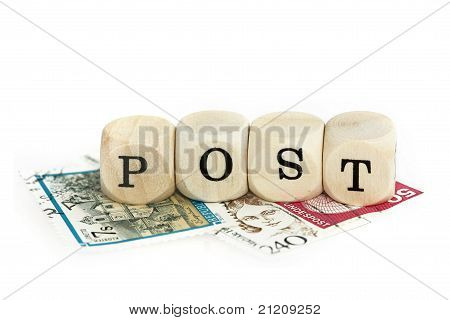 "wooden blocks for word ""post"""