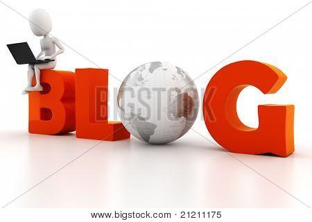 3d man reading a blog