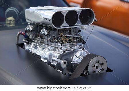 Close Up On A Race Car Compressor