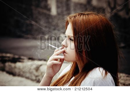 Smoking Beautiful Young Girl