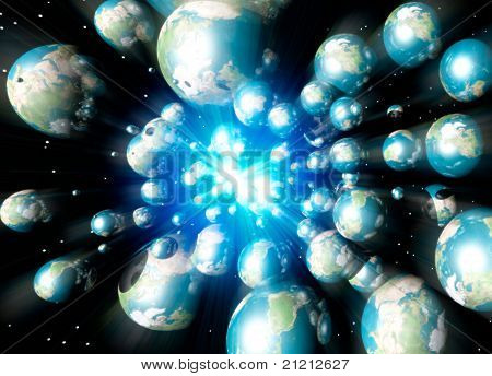 Multiple Earths Speeding In Space