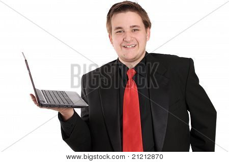 Man With Netbook Smiling