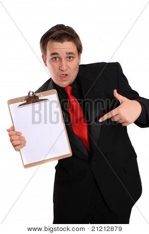Man Holding Clipboard With Blank Page