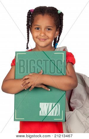 African Little Girl With A Folder And Backpack