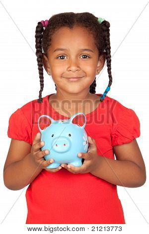 African Little Girl With A Blue Piggy-bank