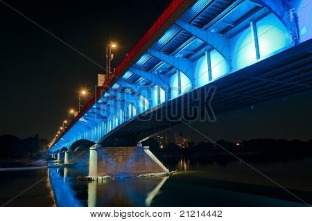 Warsaw Bridge By Night