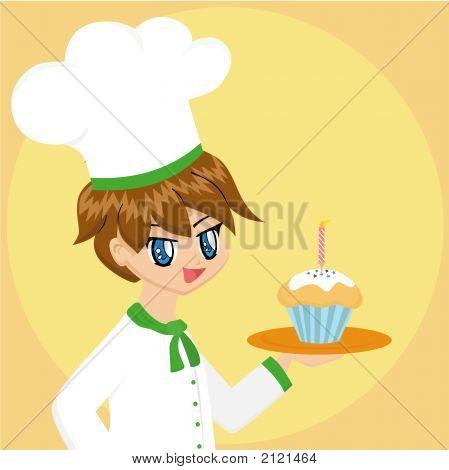 Cute Cartoon Baker Boy