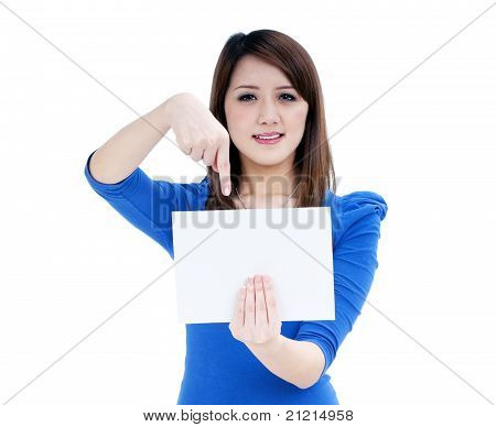 Pretty Woman Holding Blank Note Card