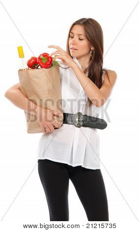 Woman Holding Shopping Paper Bag Full Of Vegetarian Groceries, Red Pepper,