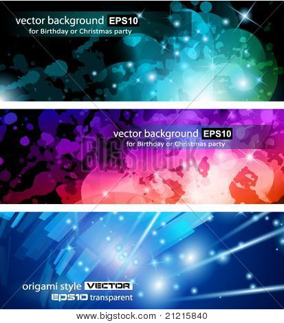 Abstract Business Card Collection: Flow of lights header backgrounds with abstract motive and rainbow colurs
