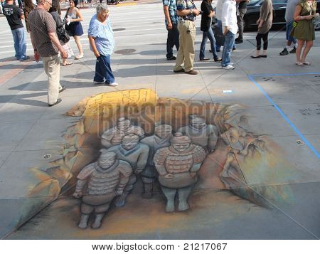 PASADENA, CA/USA - JUNE 19 2011: Painting Art Murals with chalk on street at the 19th Annual Pasaden