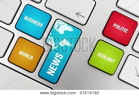 News Topics On The Keyboard Keys