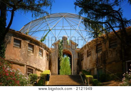Stairs And Archway Leading To Aviary In Zoo In Rome, Italy