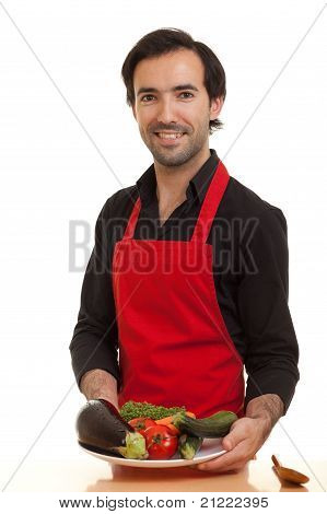 Chef Presenting Vegetables