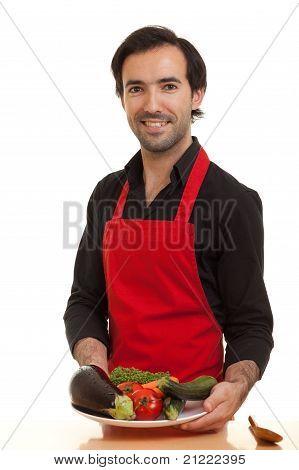 Chef Presenting Vegetables