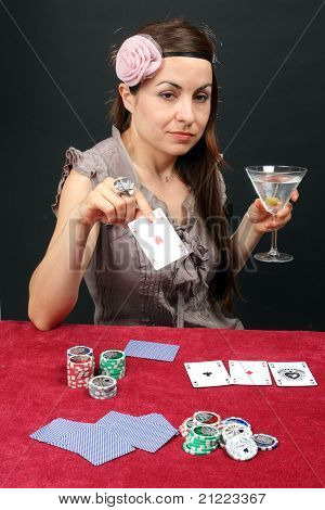 Woman Gambling At The Casino