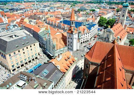 view over munich old town