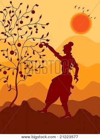 Girl picking Fruit from tree, Shadow Art