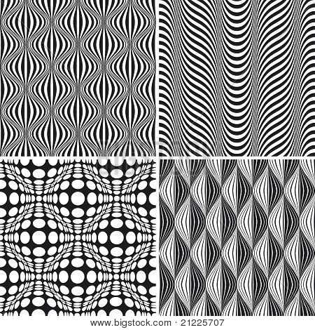 Seamless Op Art Background Pattern Set
