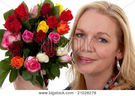 Portrait Of Woman With Bouquet Of Roses