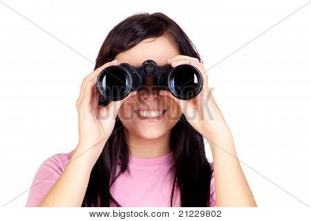 Brunette Girl Looking Through Binoculars