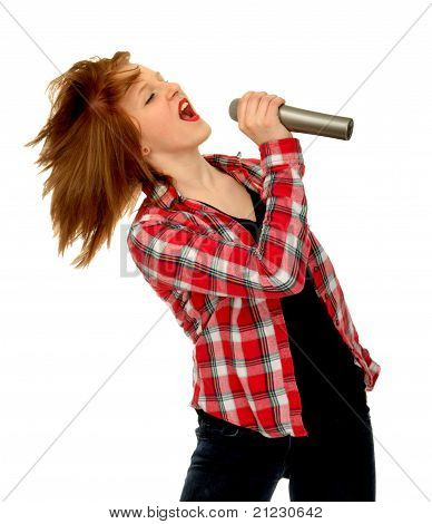 Country Western Girl Singing Into Microphone
