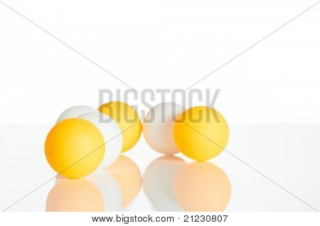 Group of ping pong balls in white background (business group concept)