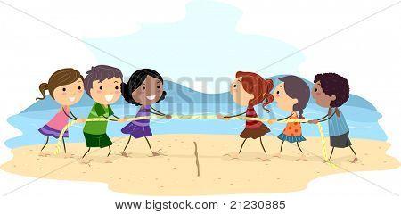 Illustration of Kids Playing Tug of War