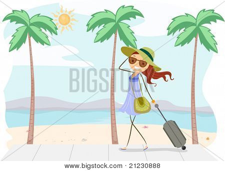 Illustration of a Girl on Vacation