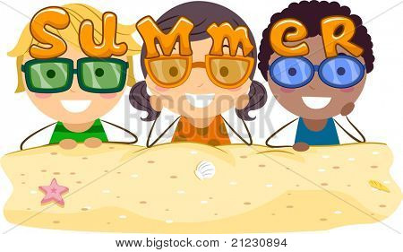 Illustration of Kids Wearing Summer-themed Shades