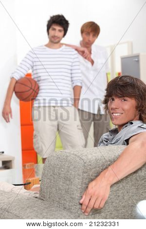 Lads waiting to play basketball