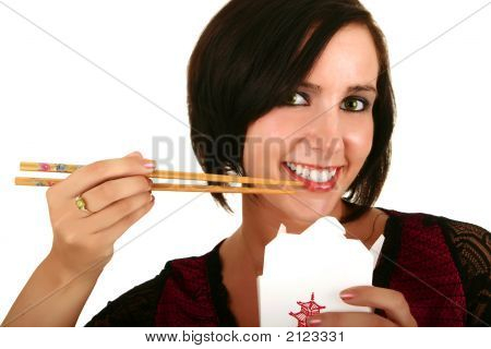 Pretty Woman Eating Chinese Food